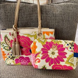 Spartina 449 linen/leather bag and accessory case
